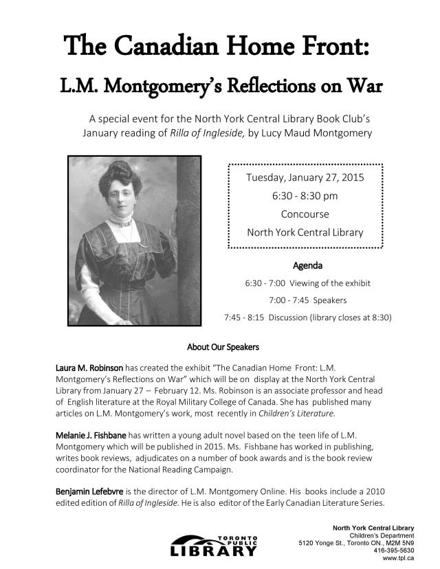 L M Montgomery Flyer Canadian Homefront January 2015